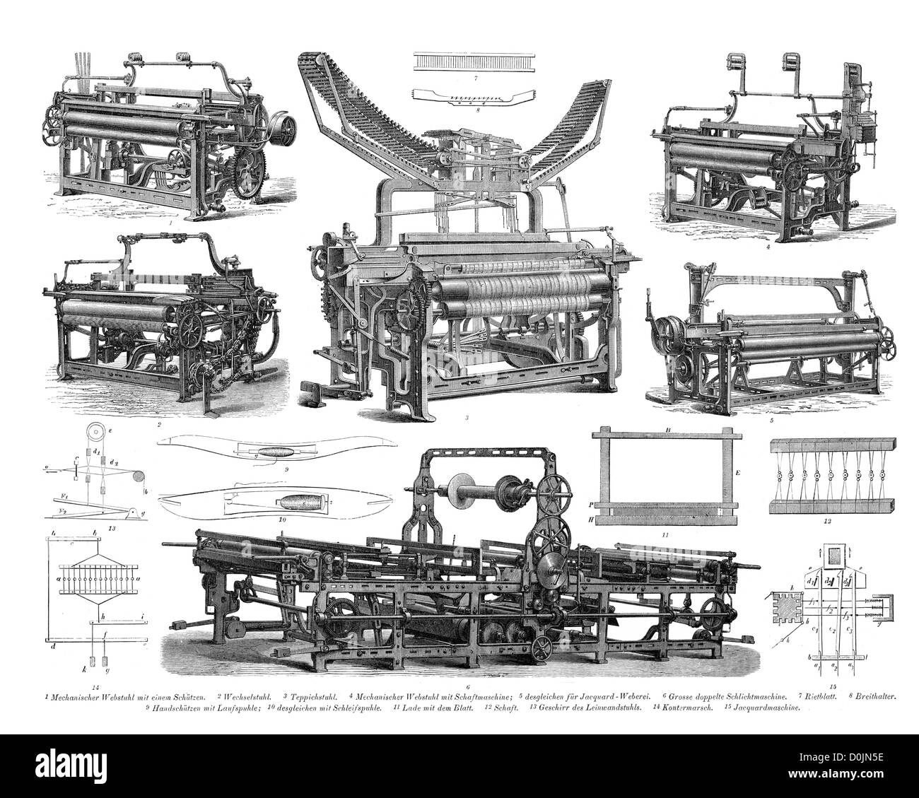 Collection of machines from the industrial revolution, including a carpet loom,  jacquard weaving machine - Stock Image