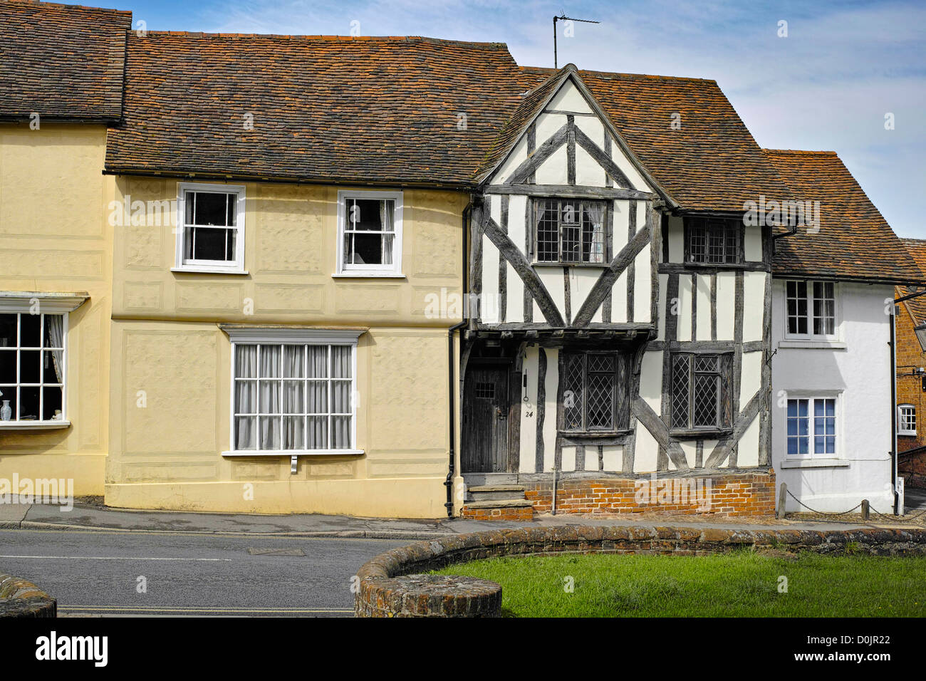 Old Tudor houses in Watling Street in Thaxted. - Stock Image