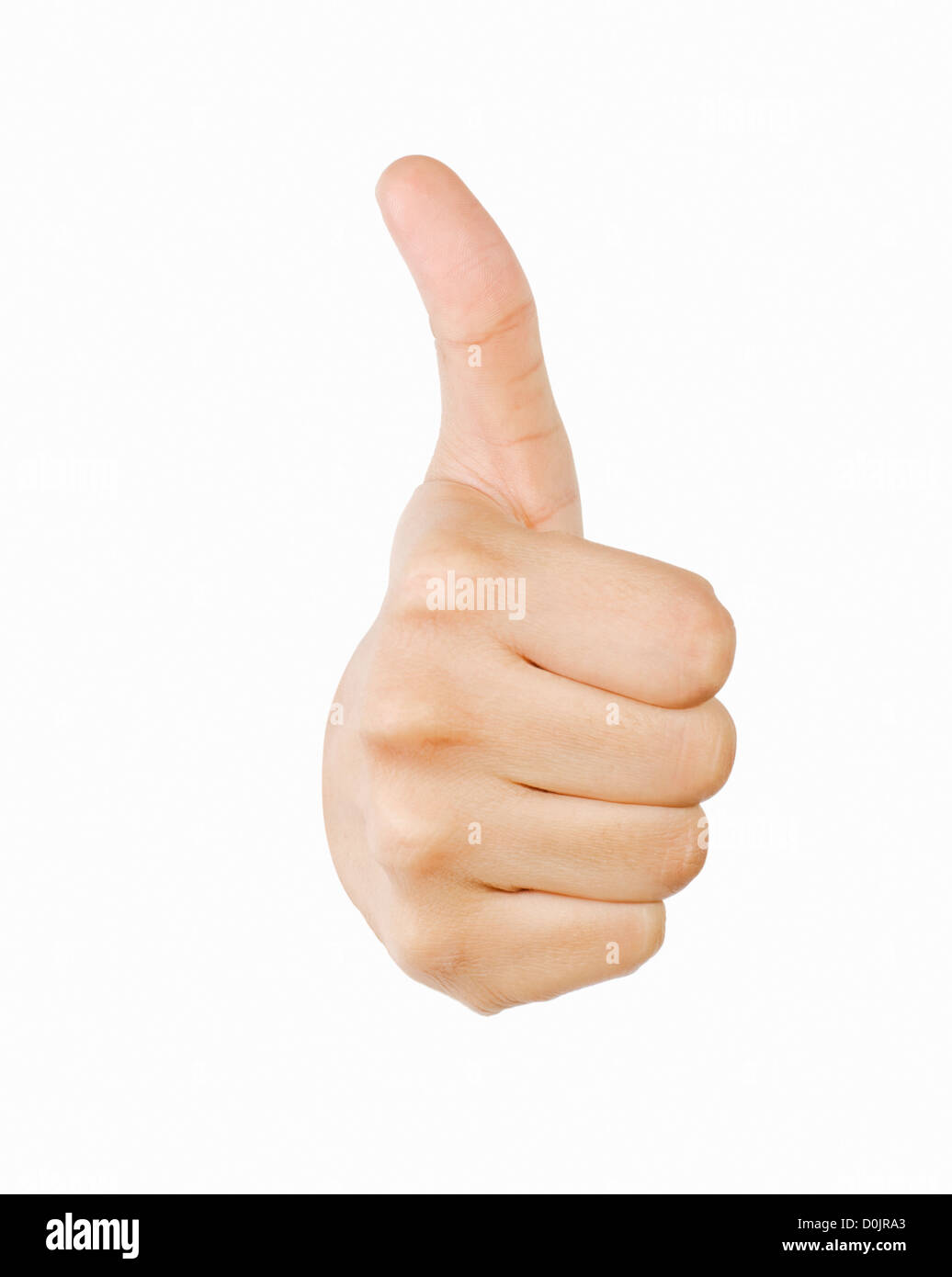 Close-up of a person's hand making the thumbs up sign - Stock Image