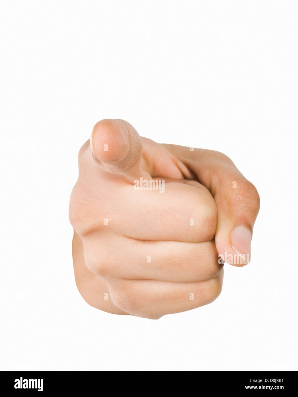 Close-up of a person's hand pointing forward - Stock Image