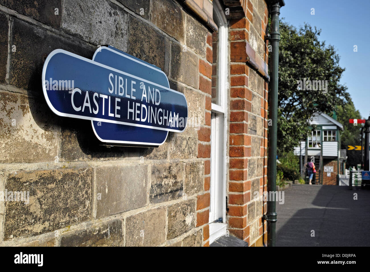 Station sign on the Colne Valley and Halstead railway. - Stock Image