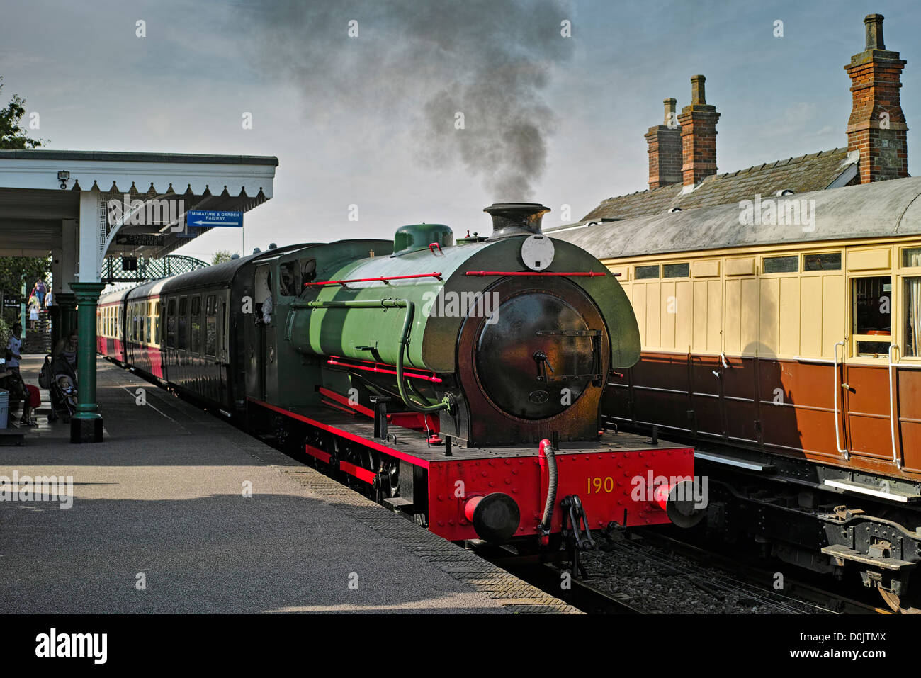 A steam train on the Colne Valley and Halstead railway. - Stock Image