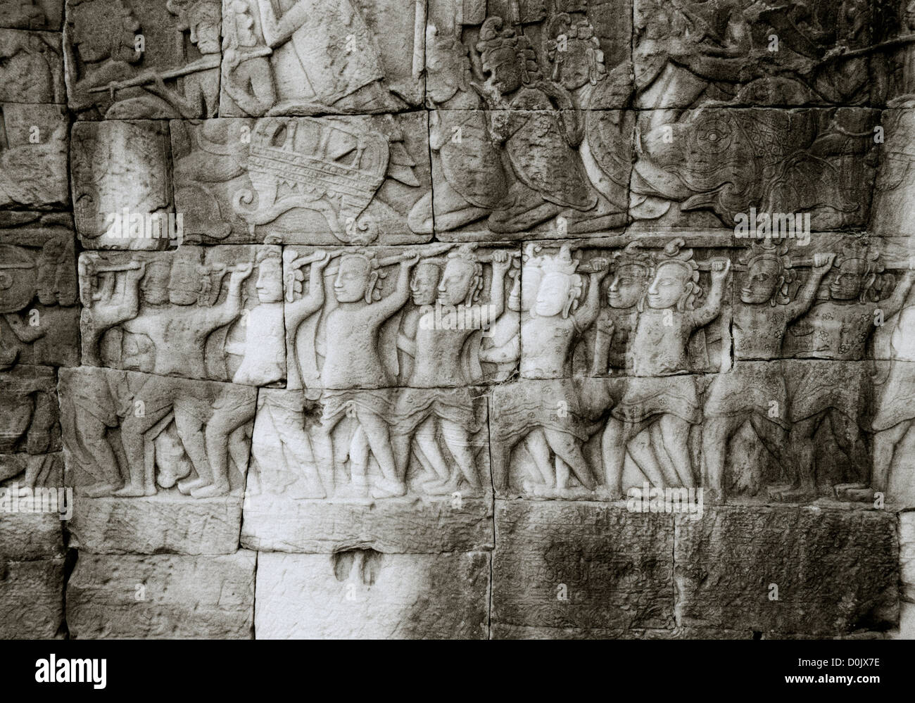 Bas relief khmer sculpture carvings at the Bayon Temple of Angkor Thom at Temples of Angkor in Cambodia in Southeast - Stock Image