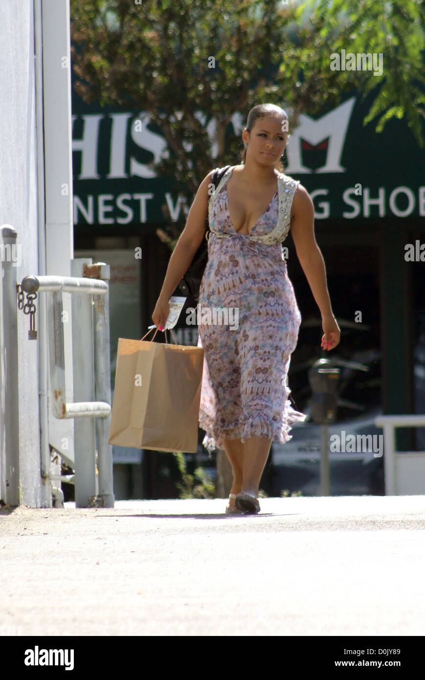 Christina Milian Out Shopping For Baby Clothes Los Angeles Stock