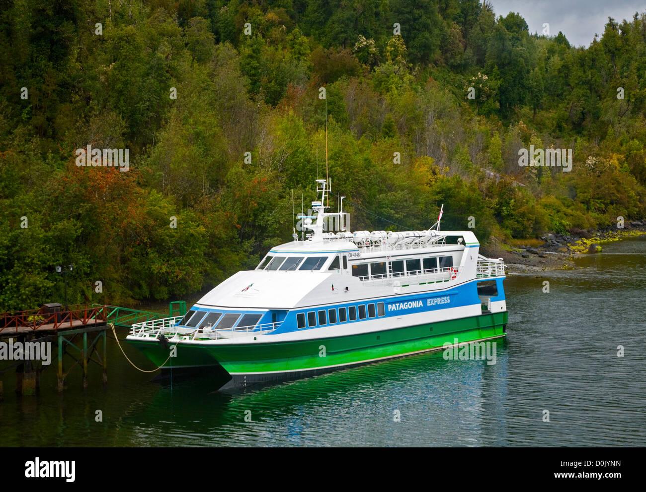 Patagonia Express Catamaran moored at Puyuhuapi, Aisen Region, Chile - Stock Image