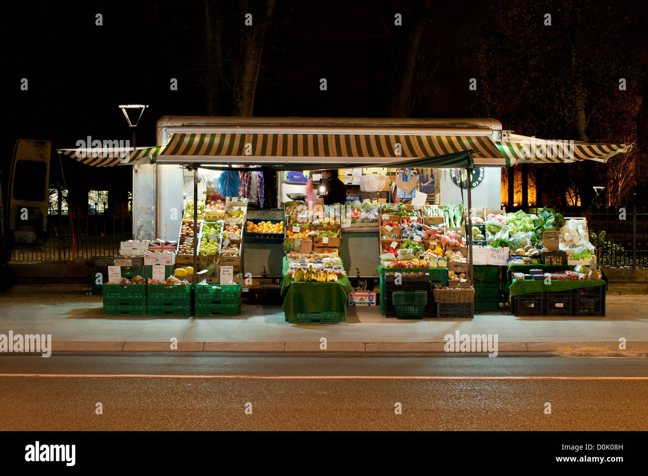 A fruit and veg stall on Oxford Road in Manchester. - Stock Image