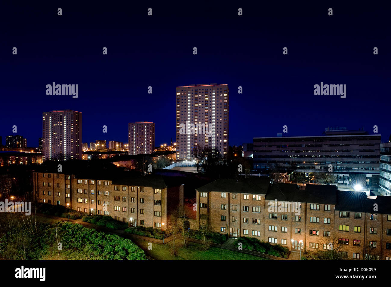 A view of high-rise flats in Glasgow. - Stock Image