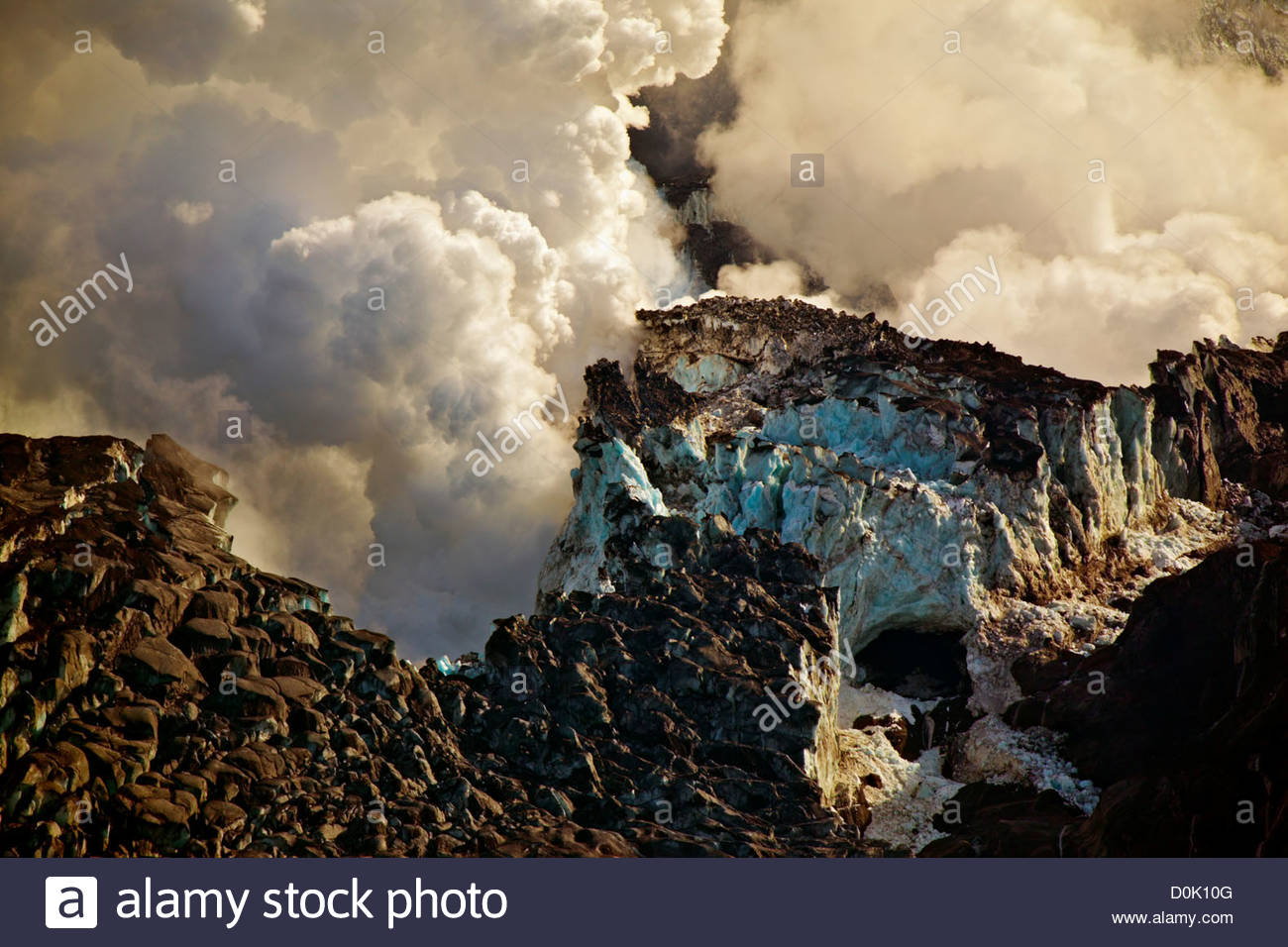 Steaming craters explosion during Eyjafjallajokull volcanic eruption on Mt. Eyjafjoll in Iceland. Lava broke through - Stock Image