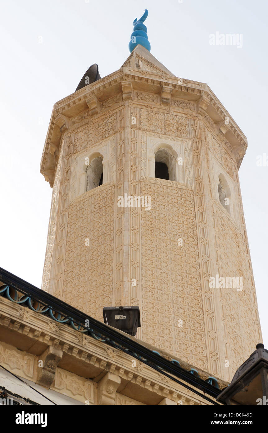 Minaret of the great mosque of Sousse in Tunisia made with carved stone - Stock Image