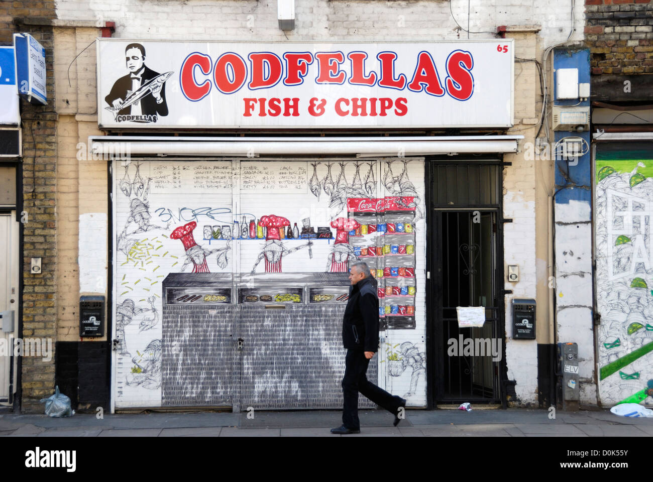 Exterior of Codfellas fish and chip shop in Spitalfields. Stock Photo