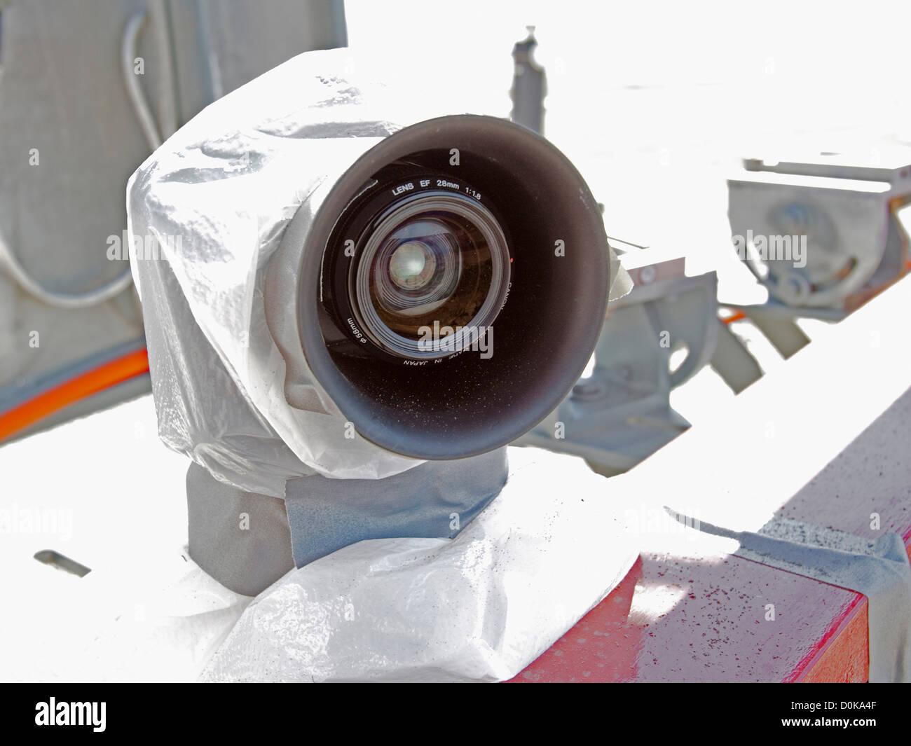 Rocket Camera : Remote control camera closest to rocket test shows sandblasting from