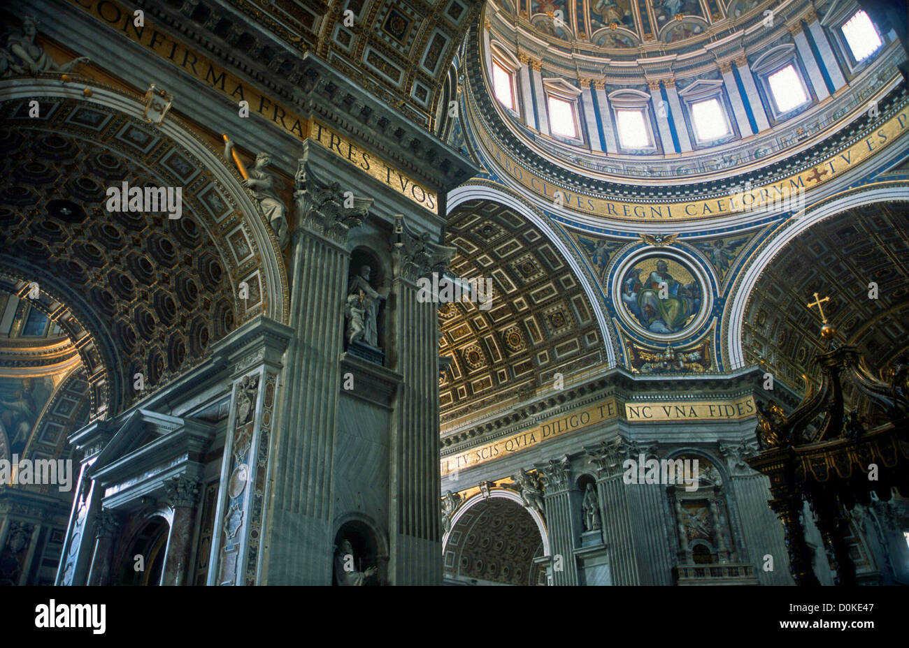 INTERIOR OF ST PETER'S ROME ITALY - Stock Image