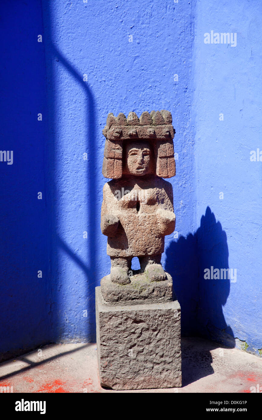 Pre Hispanic Artifact Statue In Museo Frida Kahlo Gardens In Coyoacan In  Mexico City DF