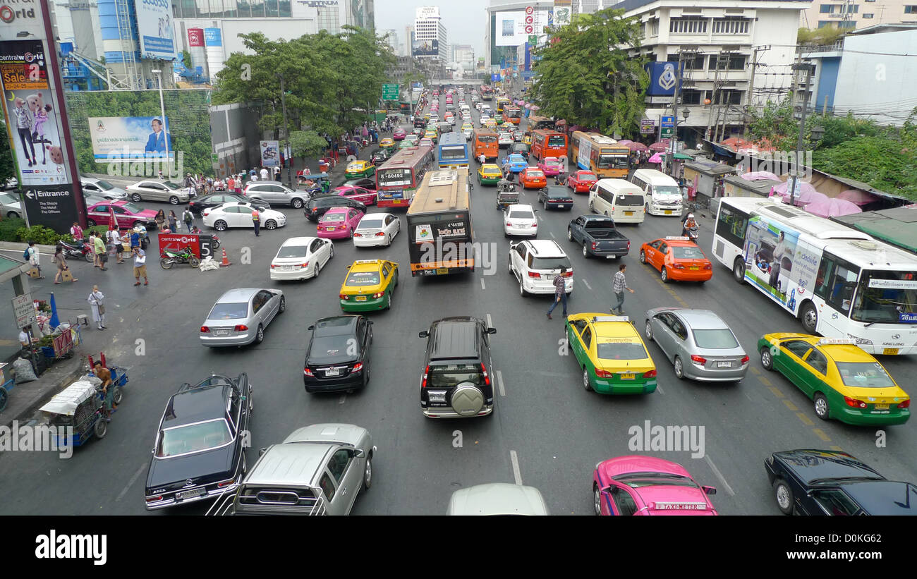 A traffic jam in Bangkok, Thailand. - Stock Image