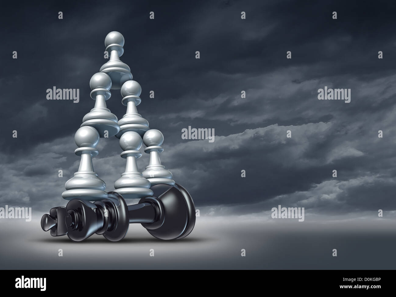 Balance of power and team victory as a business strategy chess symbol of changing the leader by teaming up in partnership - Stock Image