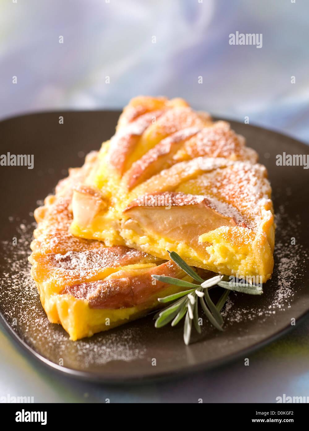 Sweet apple quiche - Stock Image
