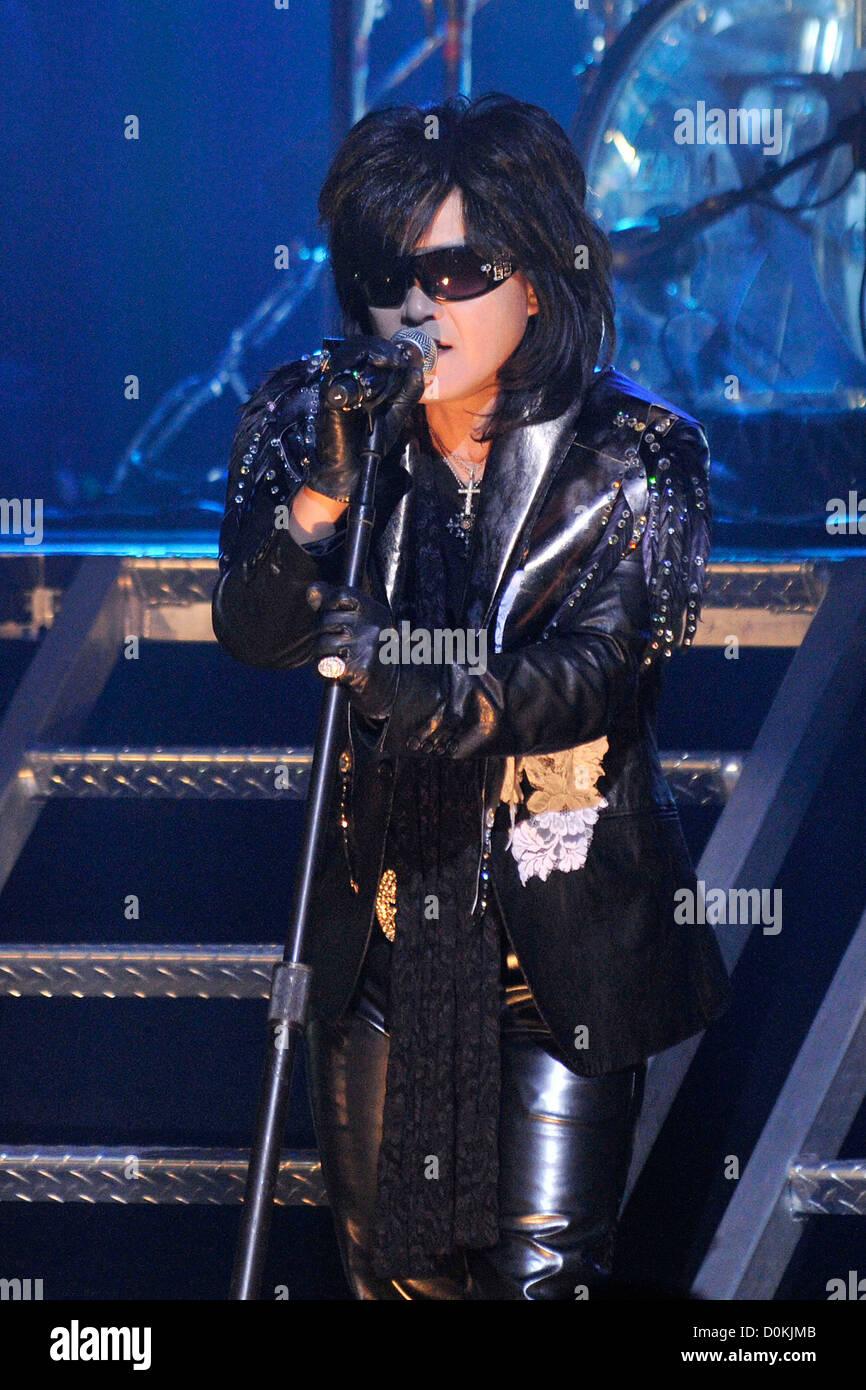 Toshimitsu 'Toshi' Deyama of 'X Japan' performing on stage at Massey Hall. Toronto, Canada - 07.10.10 Stock Photo