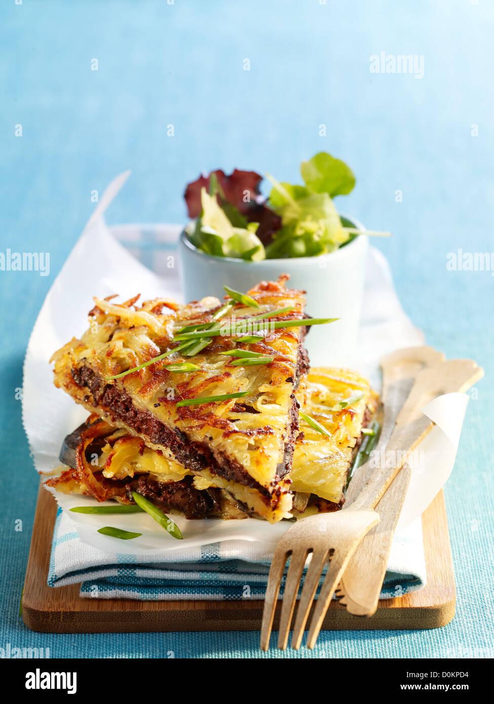 Potato pancakes and sausage - Stock Image