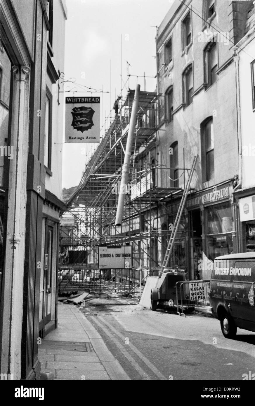 George street in Hastings Old Town taken in 1976 after T W barnes warehouse burnt down. - Stock Image