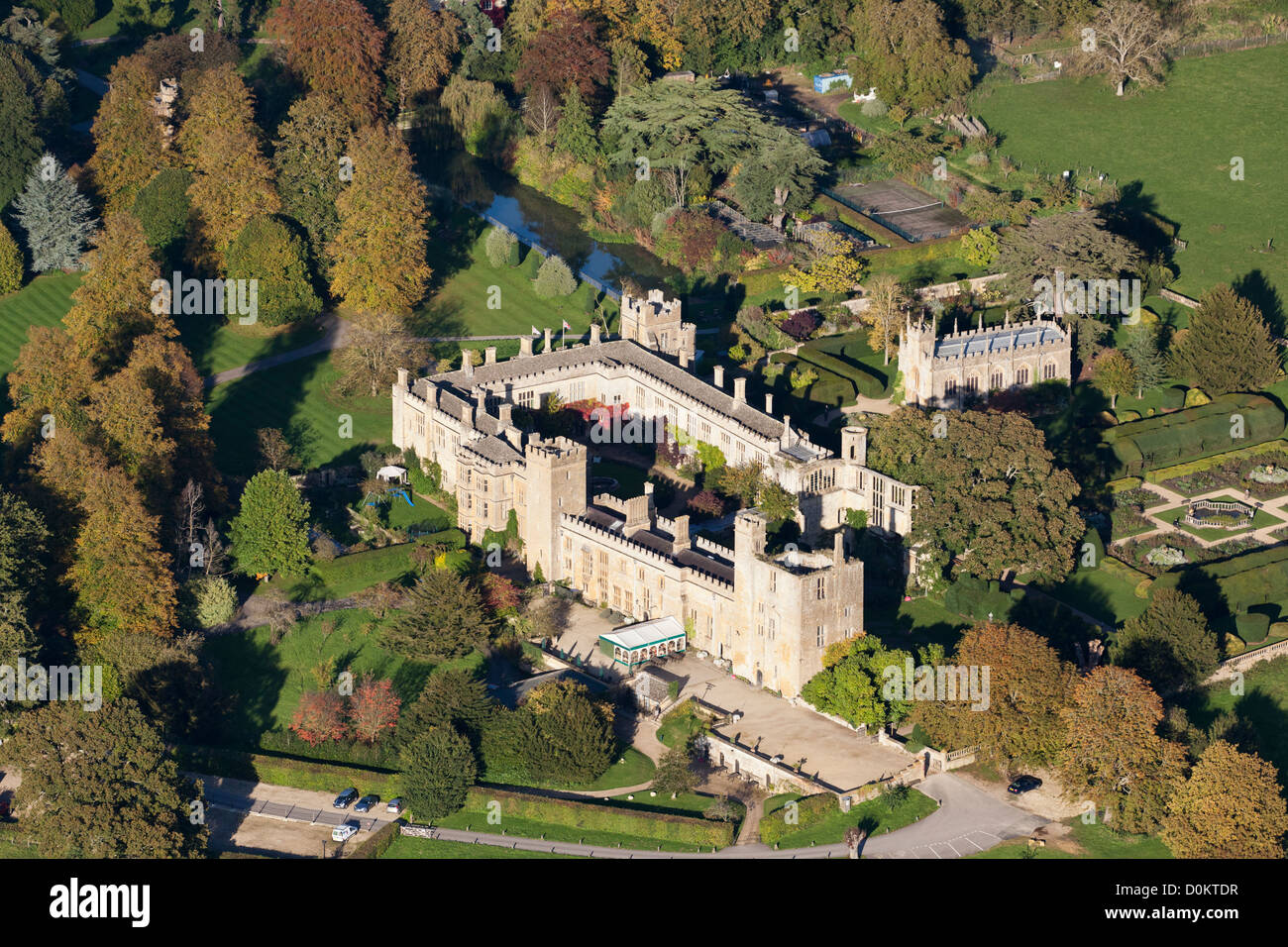 An aerial view of Sudeley Castle near the Cotswold town of Winchcombe, Gloucestershire, UK - Stock Image