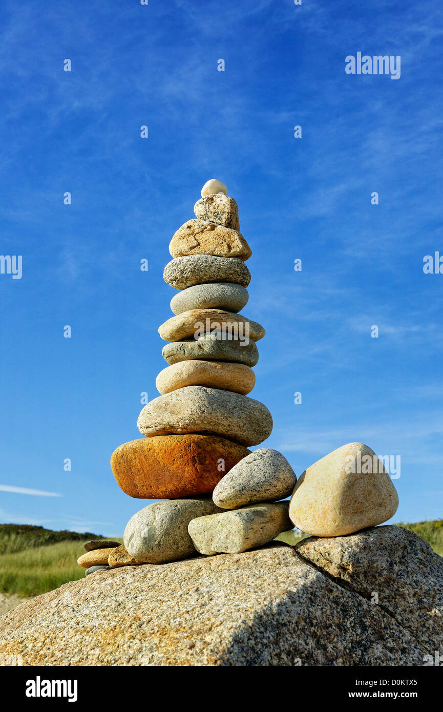 Rock cairn, Gay Head, Aquinnah, Martha's Vineyard, Massachusetts, USA - Stock Image