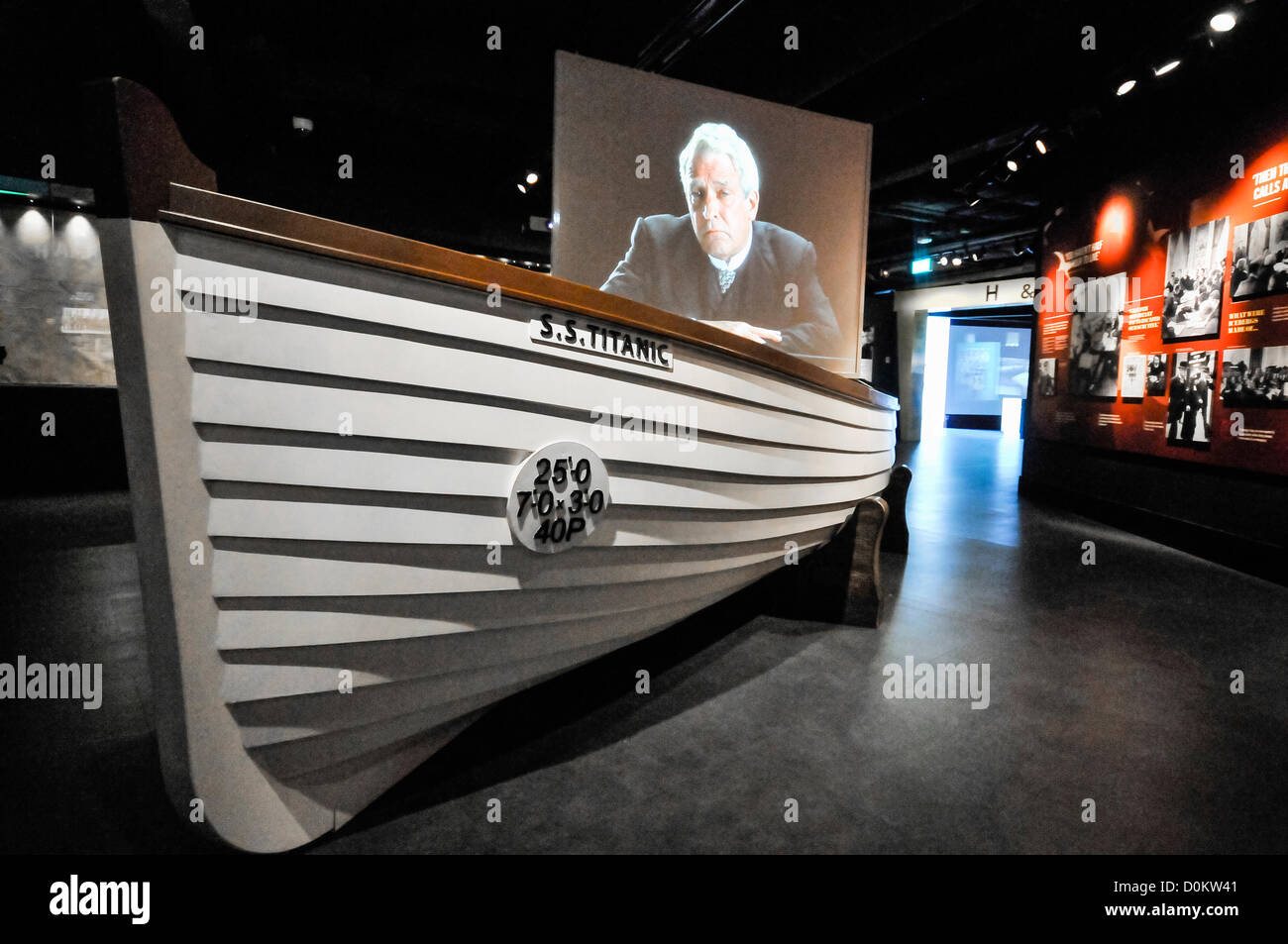 27th November 2012, Belfast. A new exhibition space opens in Titanic Belfast, including a replica lifeboat, and - Stock Image