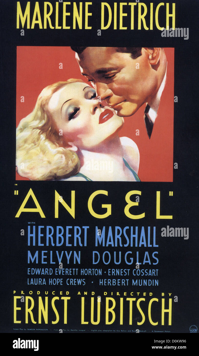ANGEL Poster for 1937 Paramount film with Marlene Dietrich and Herbert Marshall - Stock Image