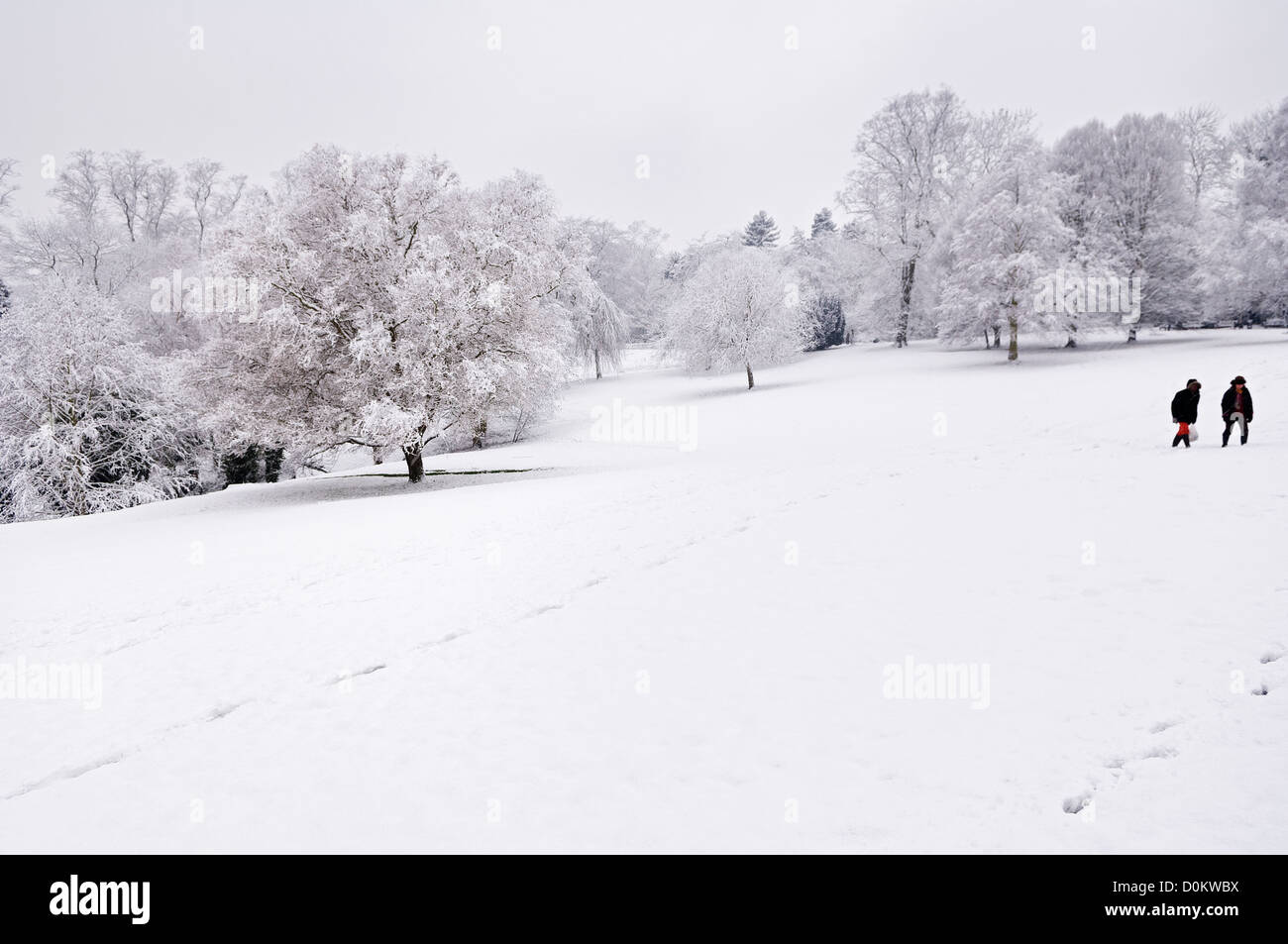 Two people enjoying a walk in the fresh snow in Waterlow Park. - Stock Image