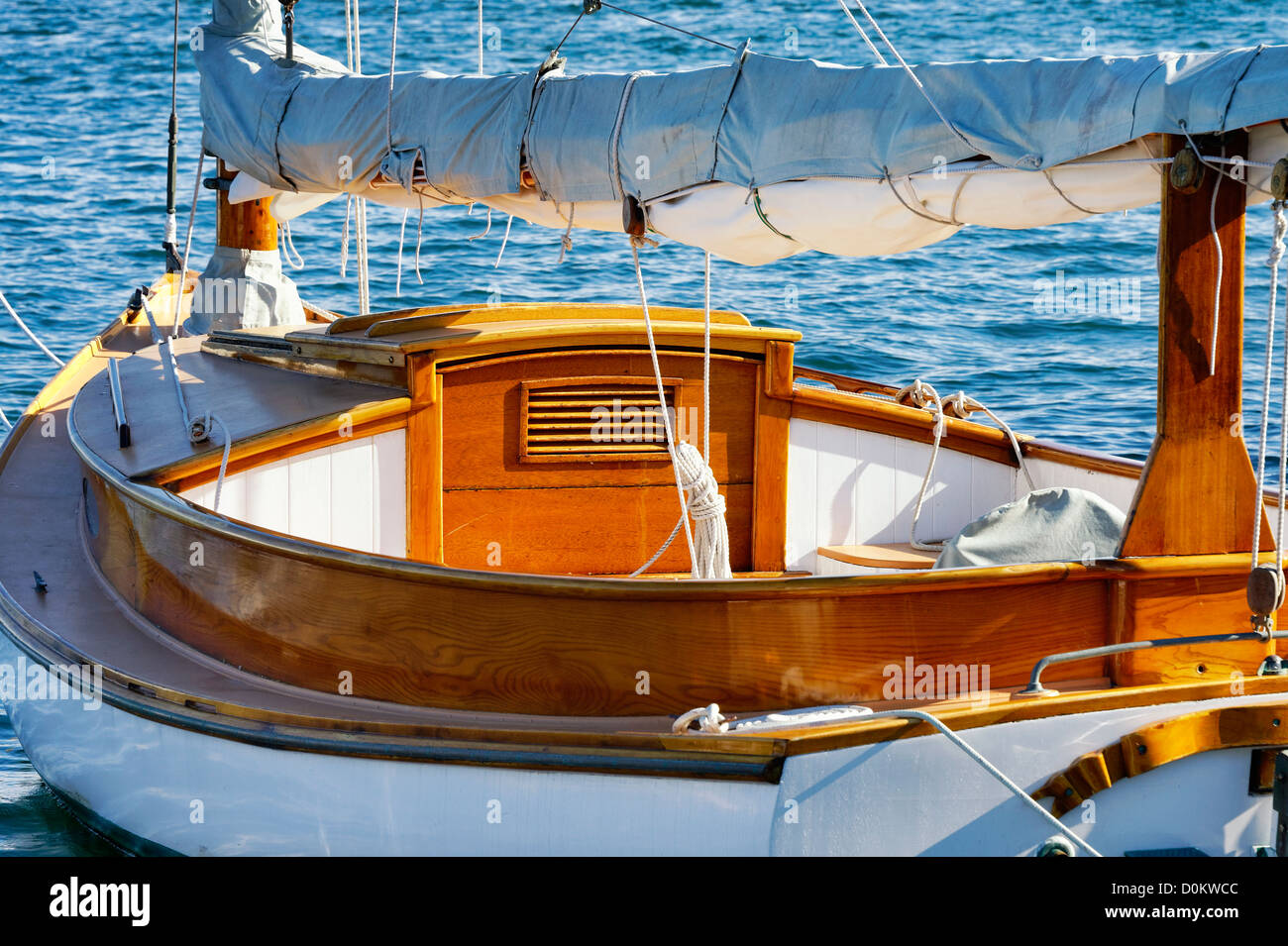 Wood sailboat detail. - Stock Image