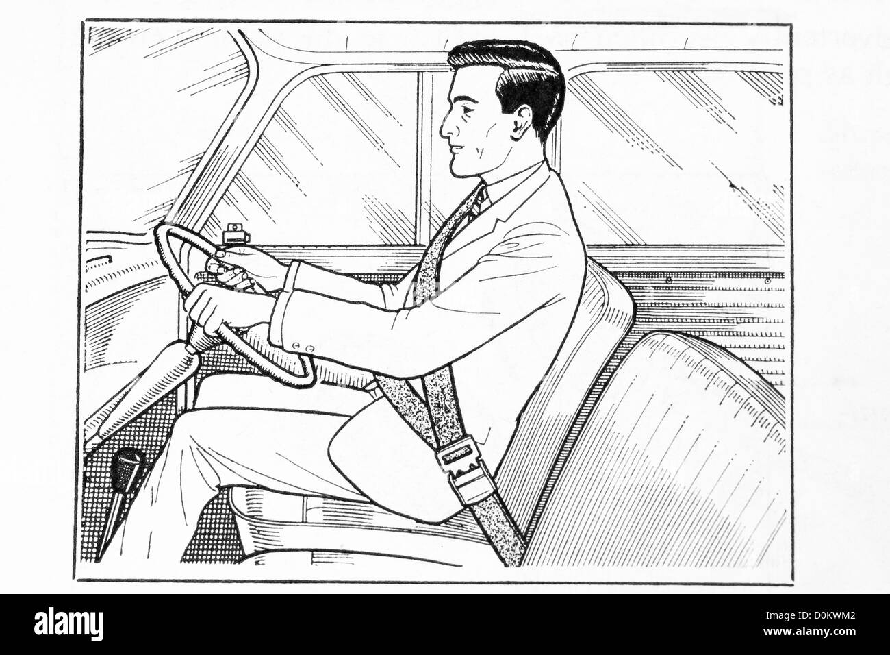 Line art illustration of man seated in a car wearing a seat belt - Stock Image