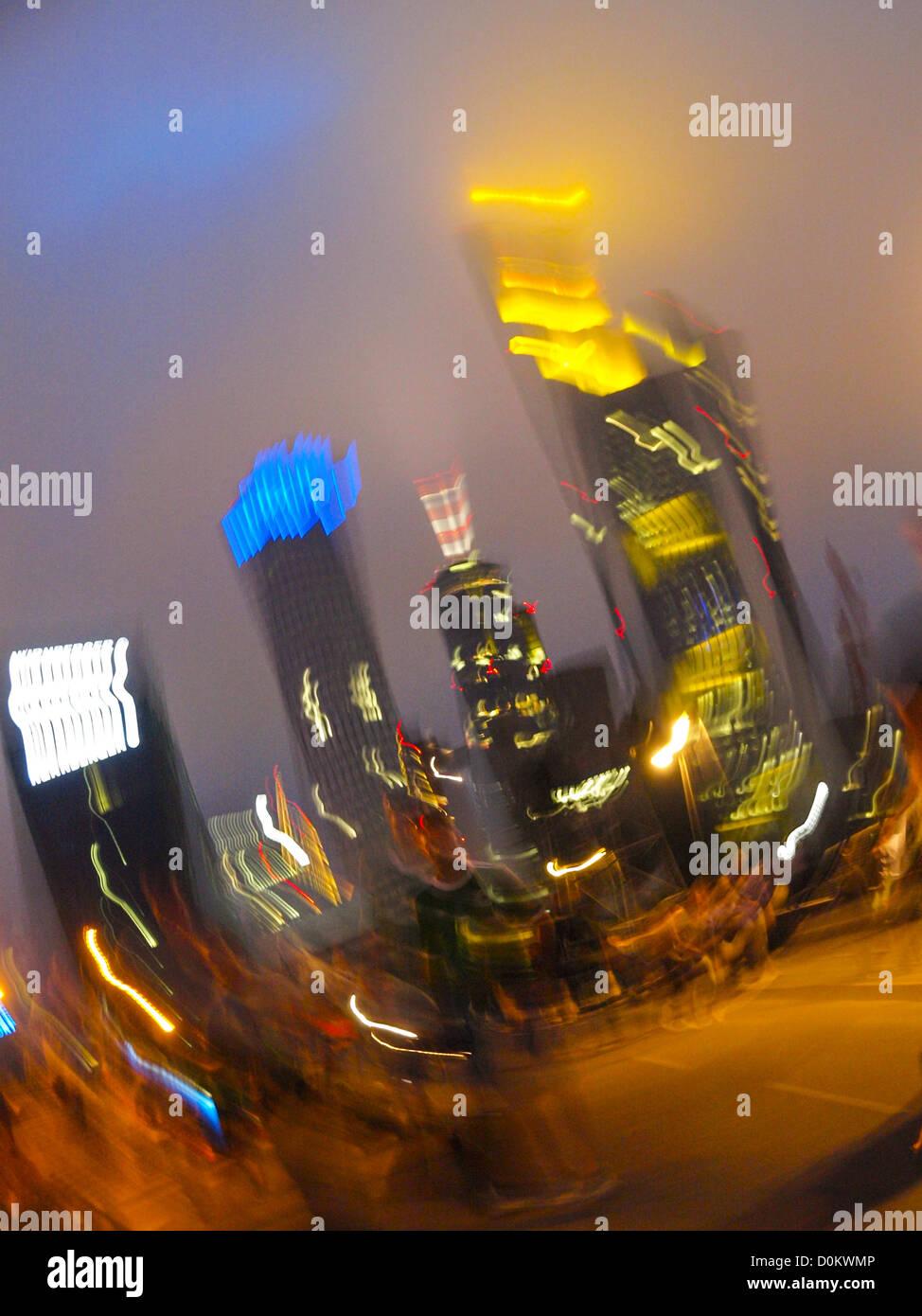 financial centre downtown, euro, Germany, Hessen, Frankfurt a. Main - Stock Image