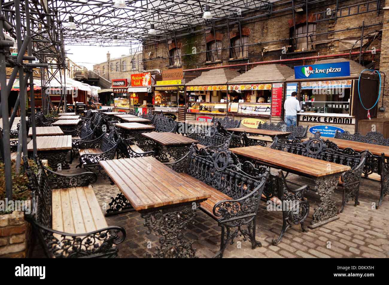 The food court in The Stables Market in Camden. - Stock Image