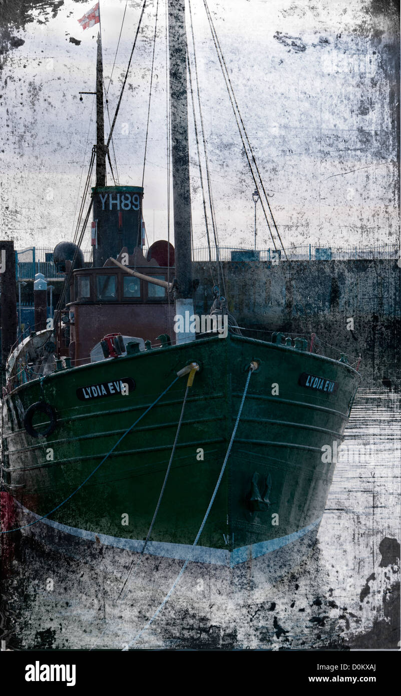 """Historic old steam ship a Drifter """"Lydia Eva YH89″ Edited to look like old photographic plate and colourised - Stock Image"""