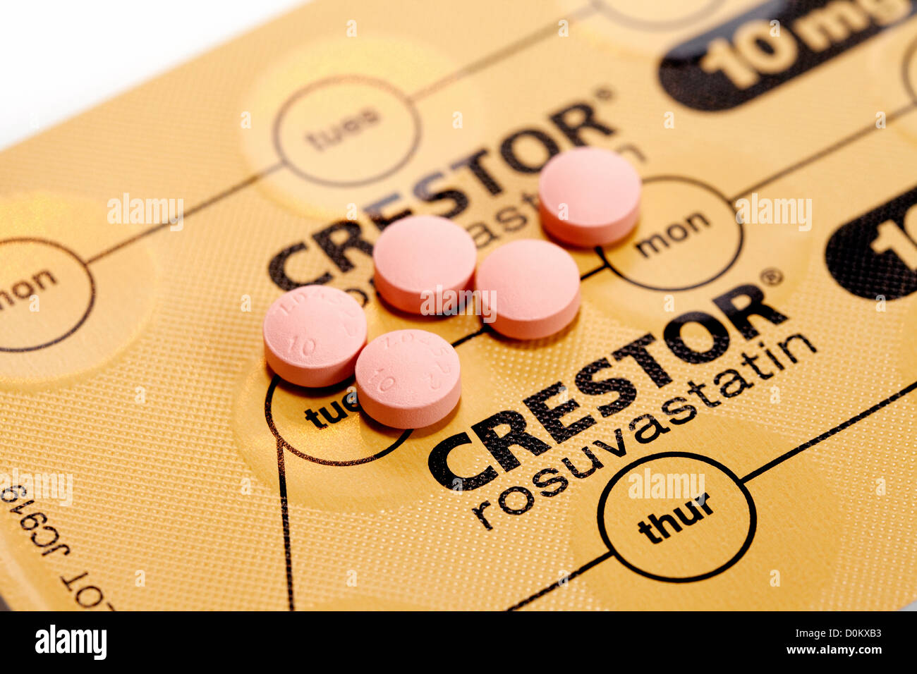 Crestor statin tablets otherwise known as Rosuvastatin one of the statins used for reduction of cholesterol - Stock Image