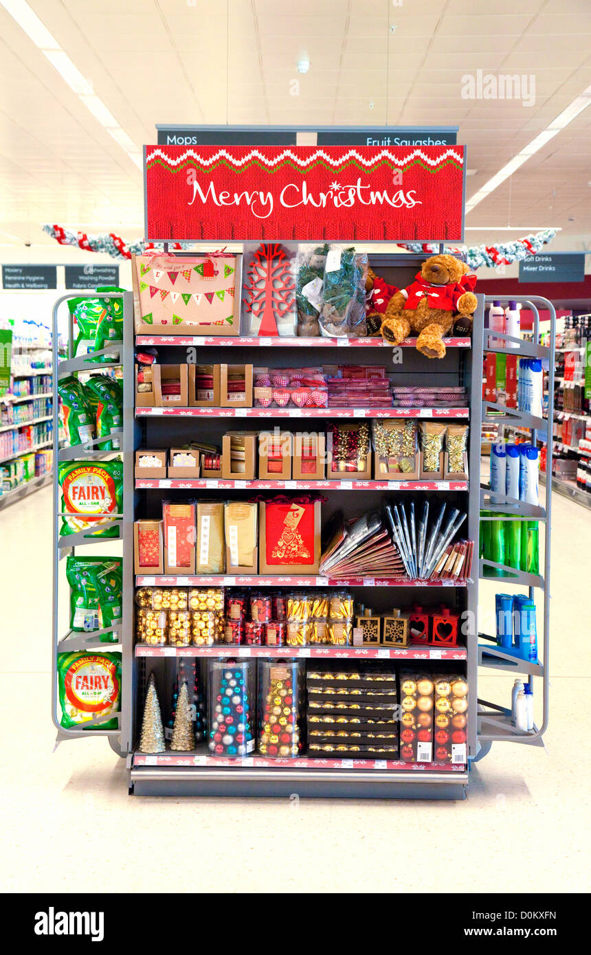 A display of Christmas Xmas goods, in a Waitrose supermarket Store, Newmarket, UK - Stock Image