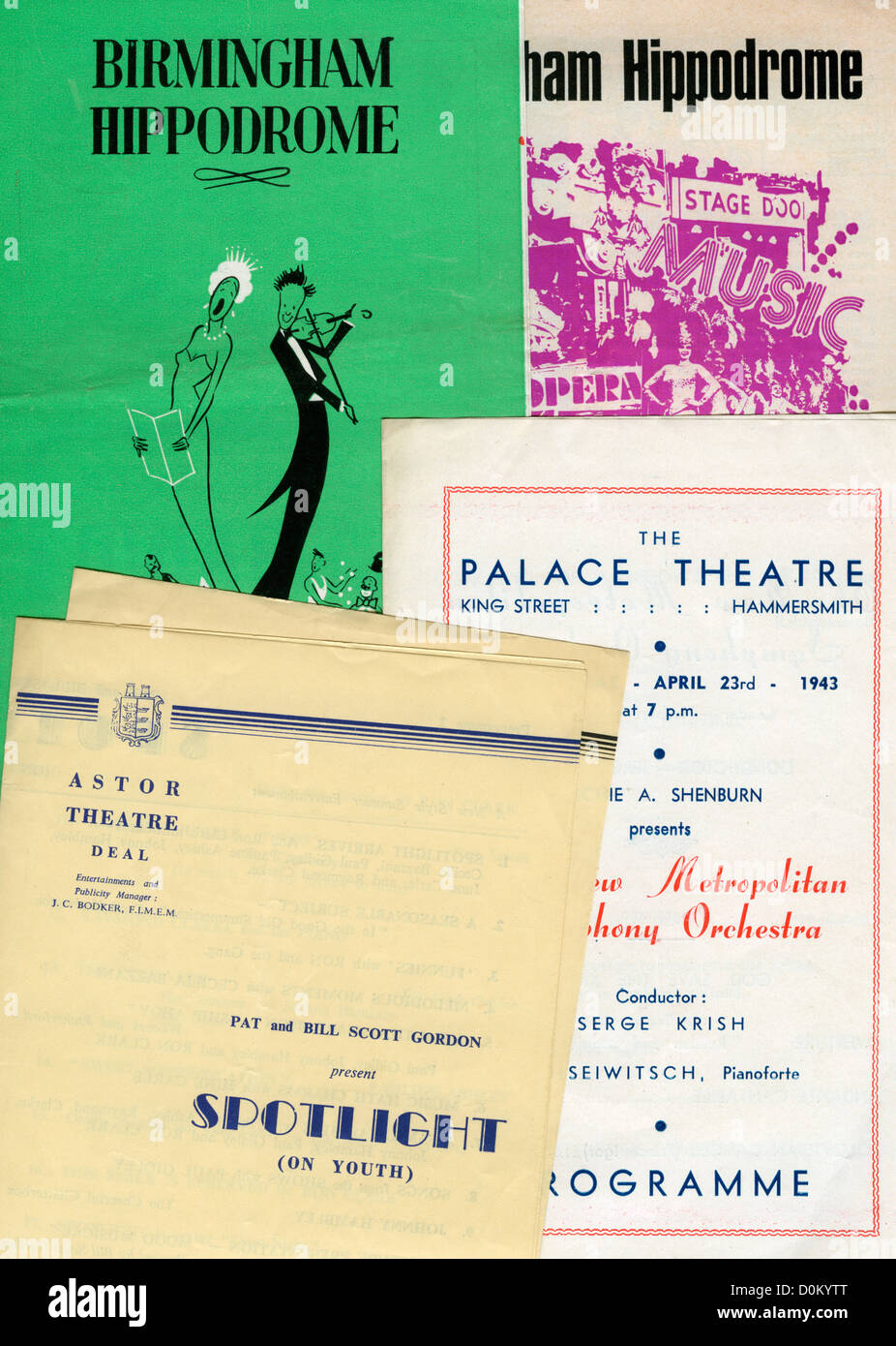 Theatre programmes from 1950's, 60's and 70's - Stock Image