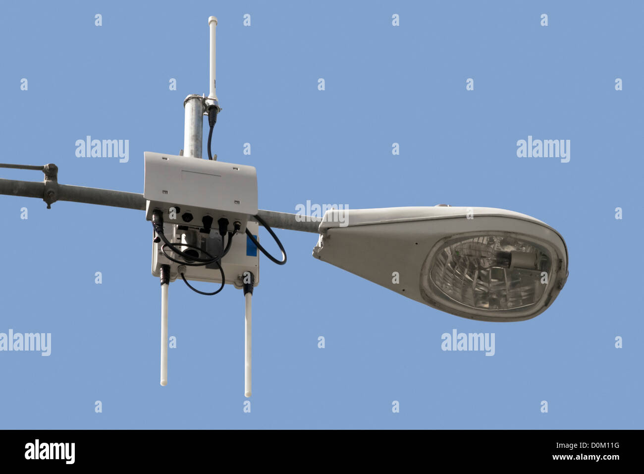 Wi-Fi Device on Streetlight - Stock Image
