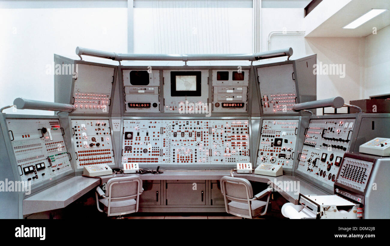 An instructional console containing repeater instruments of all Gemini crew stations. - Stock Image