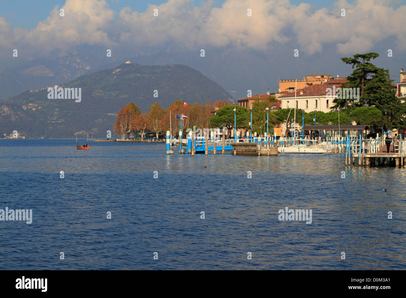 Harbour on Lake Iseo near Bergamo, Lombardy, Italy, Europe. - Stock Image