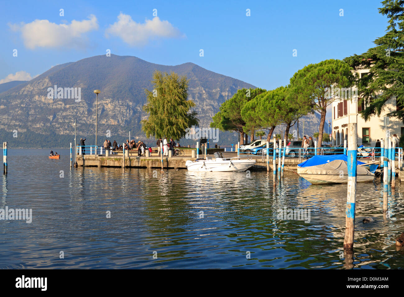 Harbour on Lake Iseo near Bergamo, Lombardy, Italy, Europe. Stock Photo