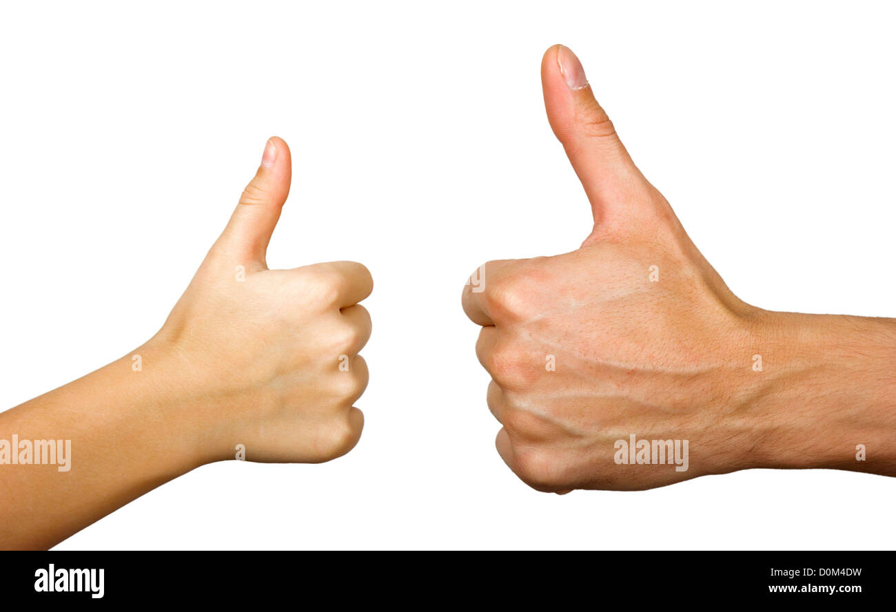 Two thumbs up isolated with white background - Stock Image