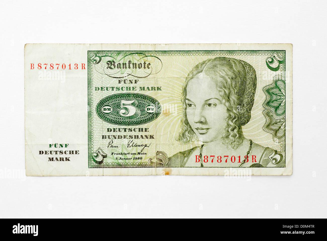 Five Deutsche Mark German Germany banknote funf money 5 DM DEM D-Mark marks Stock Photo