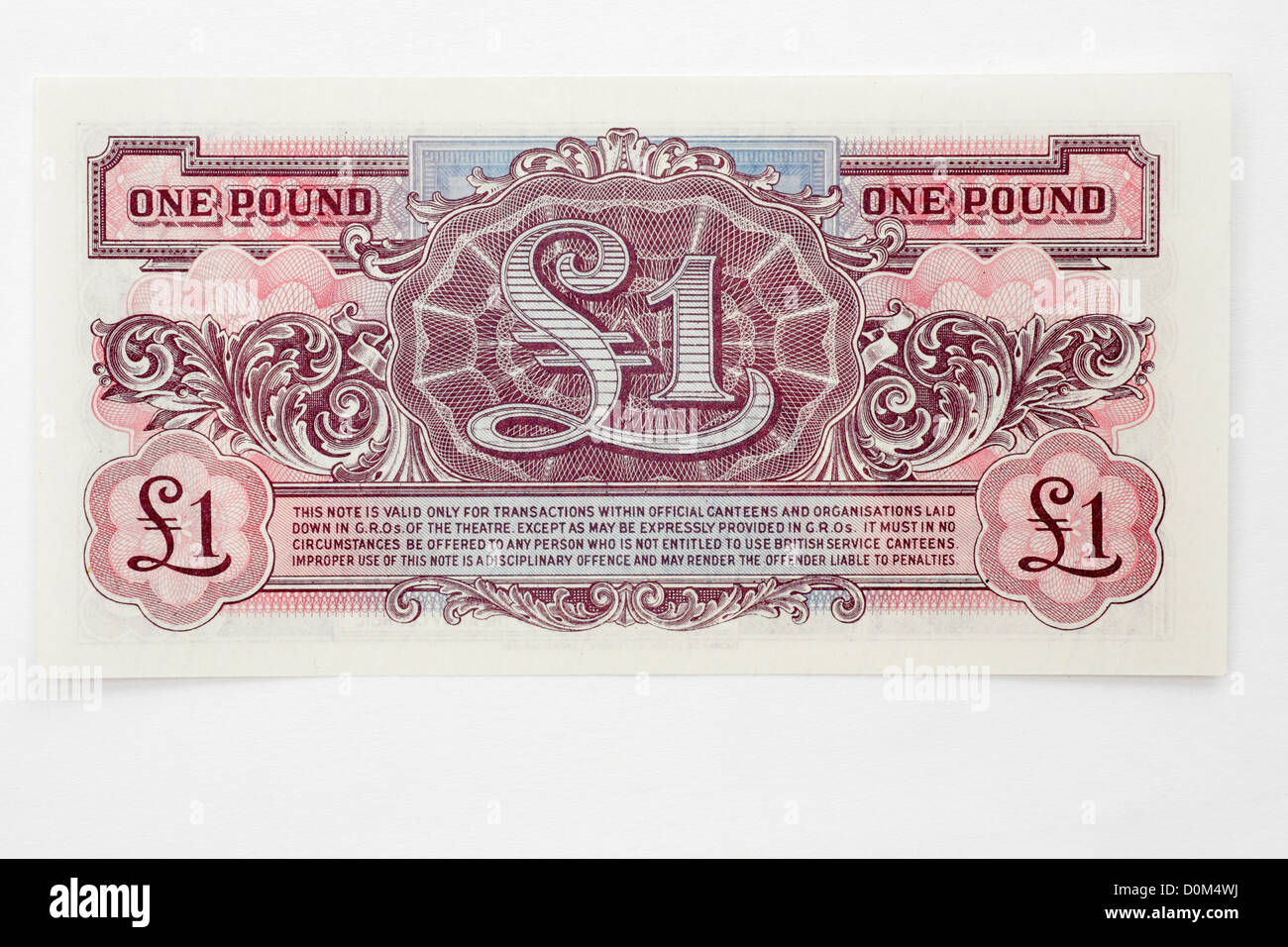 British Armed Forces token currency money banknotes issued for use only in Naafi and other services shops. - Stock Image