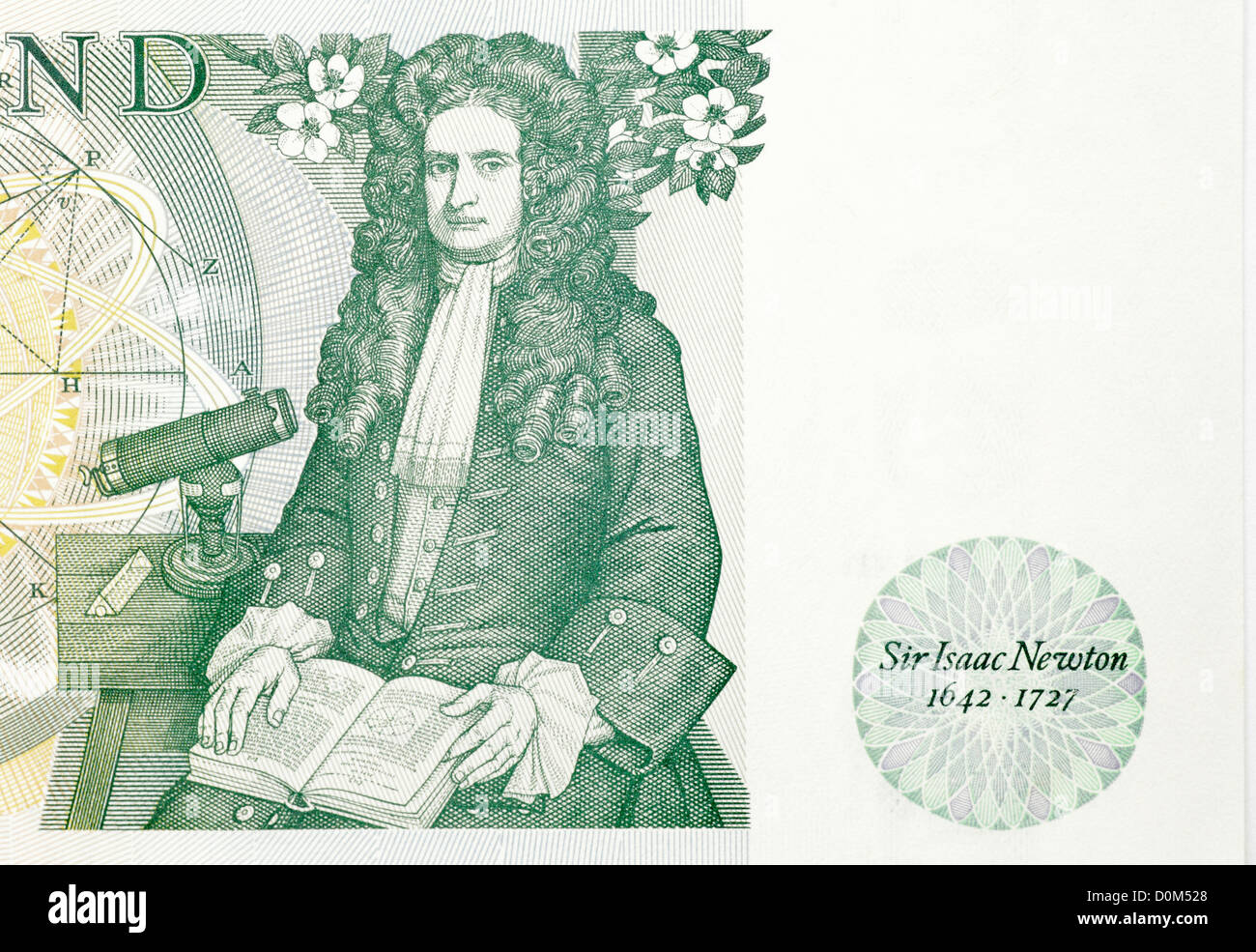 Green Bank of England 1 one pound note sterling British English UK with portrait of Sir Isaac Newton famous physicist - Stock Image