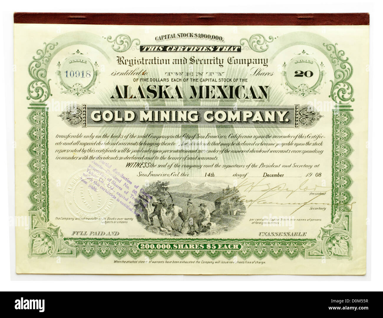 Share certificate of the Alaska Mexican Gold Mining Company Gold