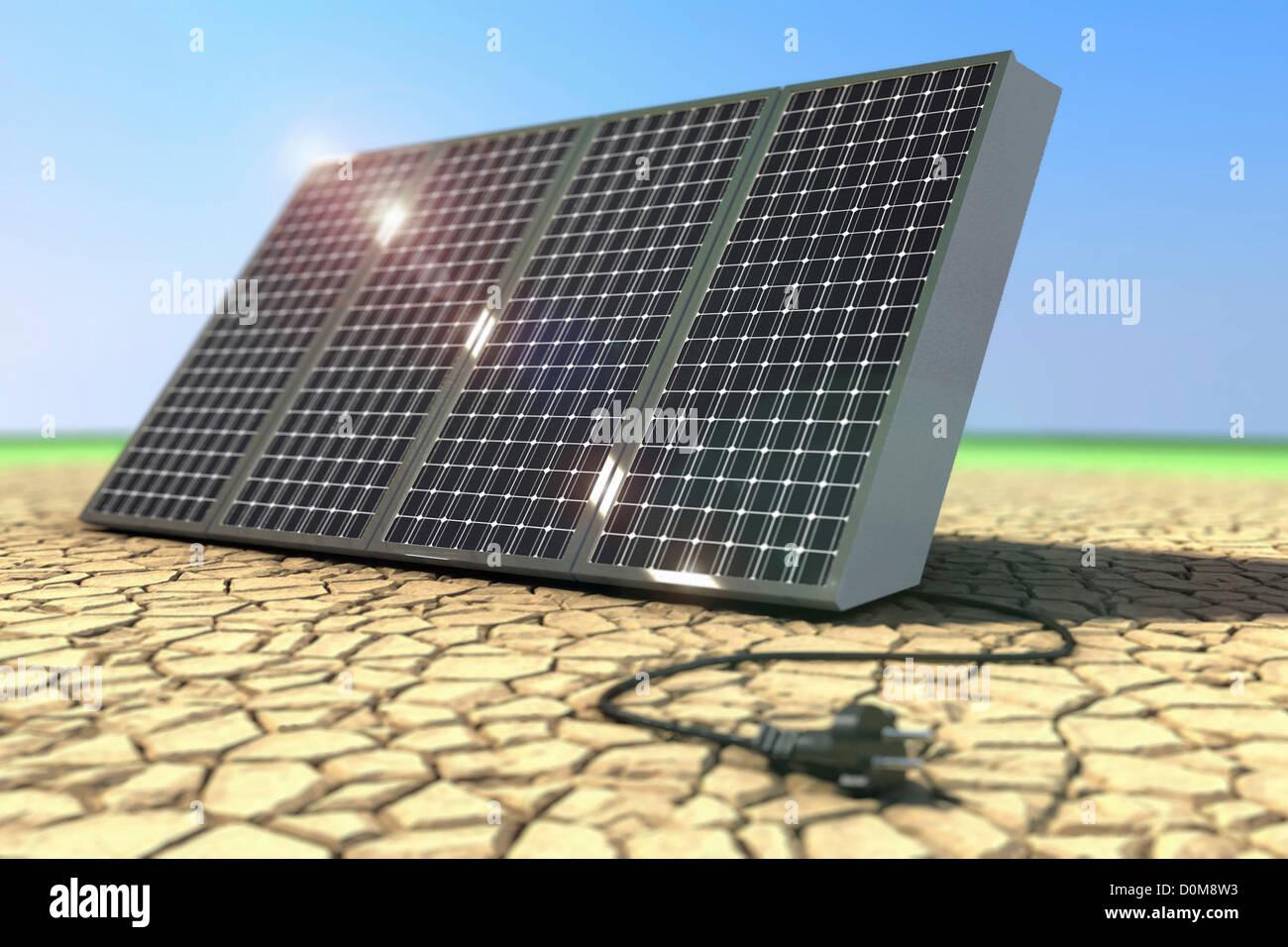 Visualization of solar panels. - Stock Image
