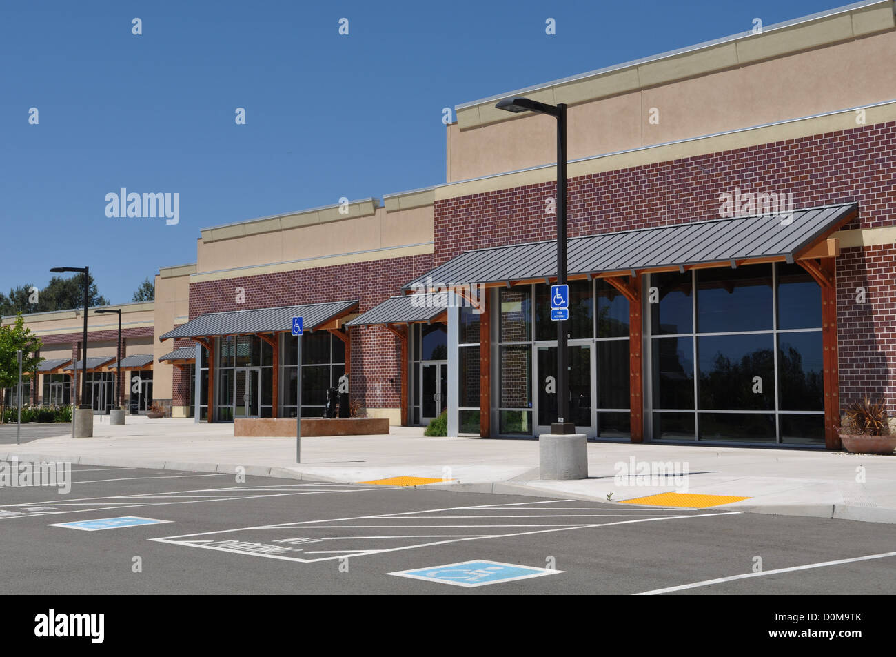 Strip Mall Shopping Center Parking Lot - Stock Image