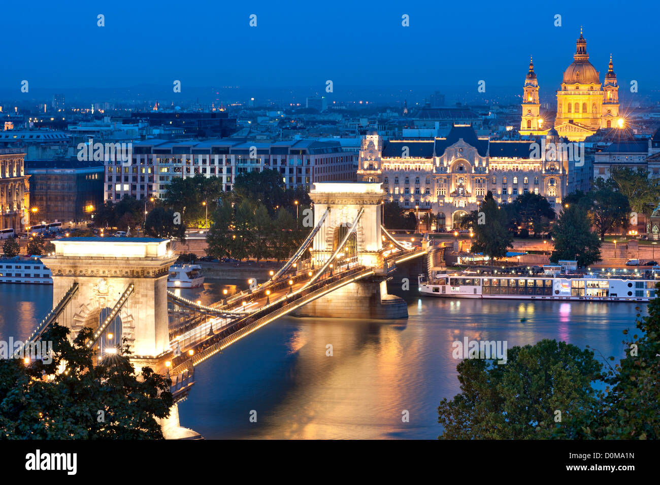Night view of Széchenyi Chain Bridge over the Danube River in Budapest, the capital of Hungary. - Stock Image