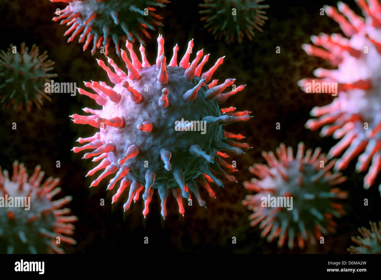 Conceptual visualization of the Swine influenza Virus (H1N1). - Stock Image