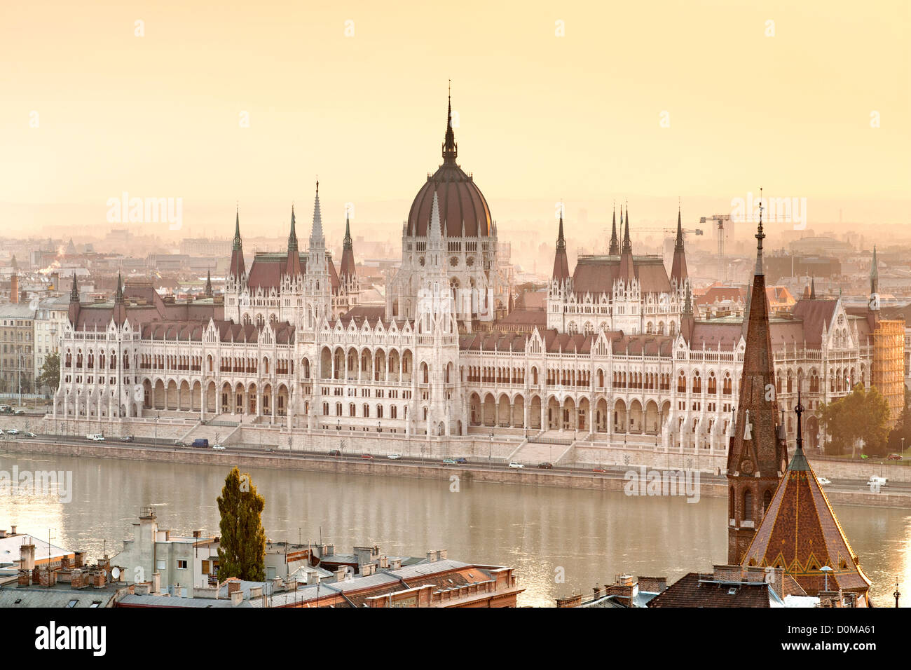 Dawn view of the Hungarian Parliament Building on the banks of the Danube River in Budapest, the capital of Hungary. Stock Photo